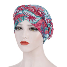 PRE-TIED Women African Turban with Rose Braided Knot Bonnet Beanie Cap Headwrap| Stretch Jersey Knit Wraps Scarf Turbans Ties | Headbands | Bandana - Laura Baby and Company