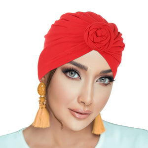 PRE-TIED Women Headwrap Turban with Rose Flower Knot | Pre-Tied Bonnet Beanie Cap | Stretch Jersey Lightweight Breathable Wraps | Headbands | Bandana