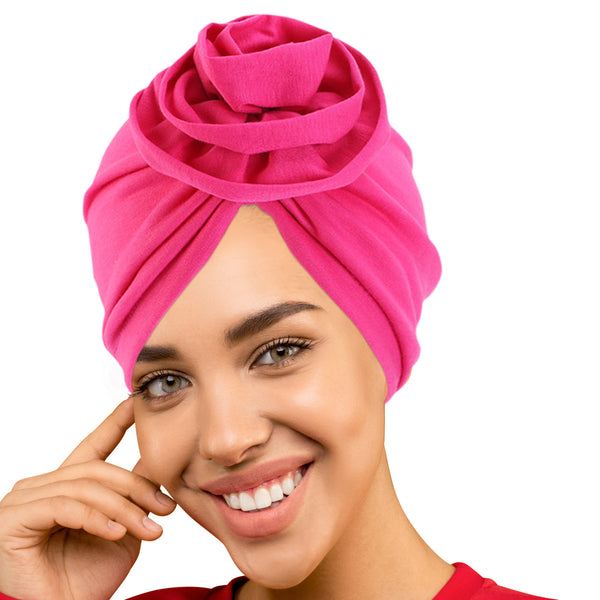 PRE-TIED Women Headwrap Turban with Rose Flower Knot | Pre-Tied Bonnet Beanie Cap | Stretch Jersey Lightweight Breathable Wraps | Headbands | Bandana - Laura Baby and Company