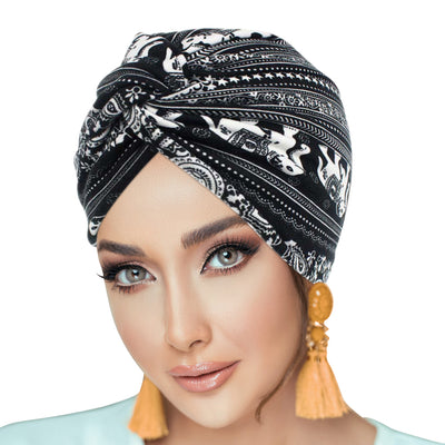 ONE DAY SALE PRE-TIED Pack of 9 Women African Turban with Rose Flower Knot | Pre-Tied Bonnet Beanie Cap Headwrap| Stretch Jersey Solid Colors and Floral Knit Wraps Scarf Turbans Ties | Lightweight Breathable Head Wraps | Headbands | Bandana - Laura Baby and Company