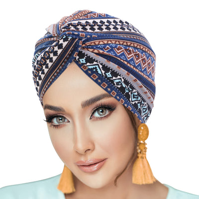 PRE-TIED Pack of 9 Women African Turban with Rose Flower Knot | Pre-Tied Bonnet Beanie Cap Headwrap| Stretch Jersey - Laura Baby and Company