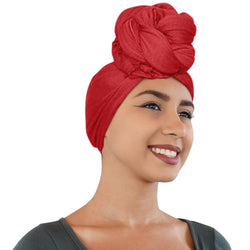 Novarena Crimson Red Solid Color Head Wrap Stretch Long Hair Scarf Turban Tie Kente African Hat Jersey Knit Headwrap