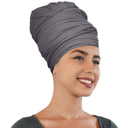 Novarena Smoky Gray Solid Color Head Wrap Stretch Long Hair Scarf Turban Tie Kente African Hat Jersey Knit Headwrap