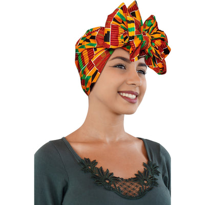 "KENTE Cloth Extra Long 72""×22"" Headwrap ANKARA Dashiki African Print Wrap/Scarf for Women - Green, Black & Orange  Head wrap Tie Hat - Ethnic Tribal - Laura Baby and Company"