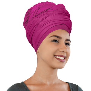 2 Pcs Black and Fuchsia Solid Color Head Wrap Stretch Long Hair Scarf Turban Tie Kente African Hat Jersey Knit Headwrap - Laura Baby and Company