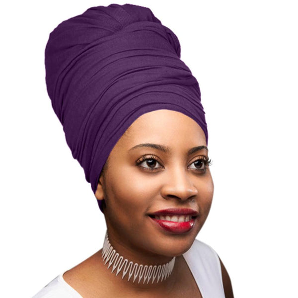 Novarena Purple Solid Color Head Wrap Stretch Long Hair Scarf Turban Tie Kente African Hat Jersey Knit Headwrap - Laura Baby and Company
