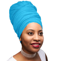 Novarena Teal Blue Solid Color Head Wrap Stretch Long Hair Scarf Turban Tie Kente African Hat Jersey Knit Headwrap