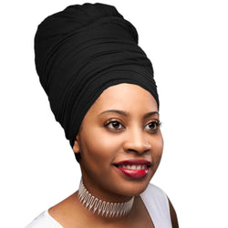 Novarena Black Solid Color Head Wrap Stretch Long Hair Scarf Turban Tie Kente African Hat Jersey Knit Headwrap
