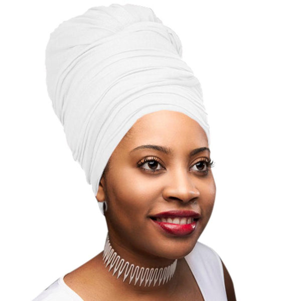 Novarena White Solid Color Head Wrap Stretch Long Hair Scarf Turban Tie Kente African Hat Jersey Knit Headwrap - Laura Baby and Company