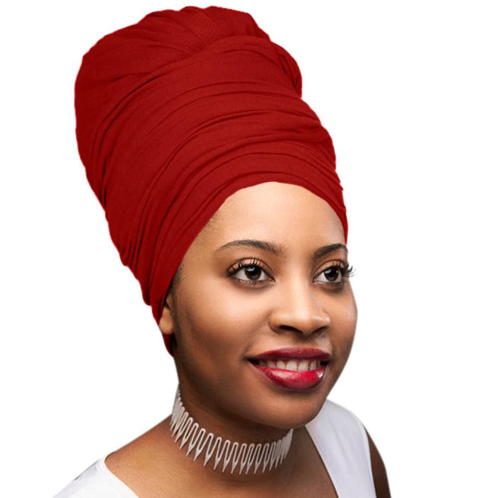 🎁 ONE DAY SALE Novarena Crimson Red Solid Color Head Wrap Stretch Long Hair Scarf Turban Tie Kente African Hat Jersey Knit Headwrap - Laura Baby and Company