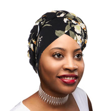 PRE-TIED Women African Turban with Rose Braided Knot Bonnet Beanie Cap Headwrap| Stretch Jersey Knit Wraps Scarf Turbans Ties | Headbands | Bandana