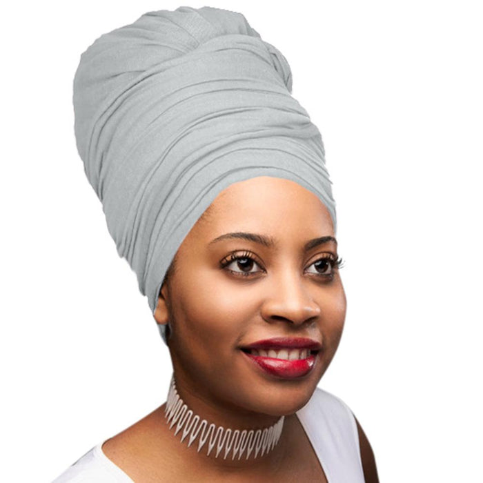 Novarena Heather Grey Solid Color Head Wrap Stretch Long Hair Scarf Turban Tie Kente African Hat Jersey Knit Headwrap - Laura Baby and Company