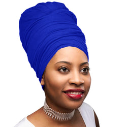 Novarena Royal Blue Solid Color Head Wrap Stretch Long Hair Scarf Turban Tie Kente African Hat Jersey Knit Headwrap