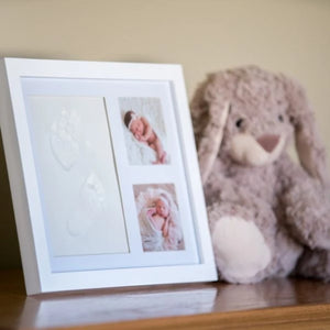 SALE Premium Baby Handprint Kit by Laura Baby! NO MOLD! Baby Picture Frame (WHITE) & Non Toxic CLAY! Baby Footprint kit, best baby shower gifts! Newborn Baby Boy and Baby Girls Gifts! - Laura Baby and Company