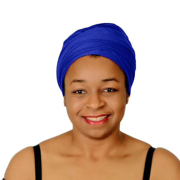 Novarena Royal Blue Solid Color Head Wrap Stretch Long Hair Scarf Turban Tie Kente African Hat Jersey Knit Headwrap - Laura Baby and Company