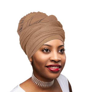 Novarena Desert Brown Solid Color Head Wrap Stretch Long Hair Scarf Turban Tie Kente African Hat Jersey Knit Headwrap - Laura Baby and Company