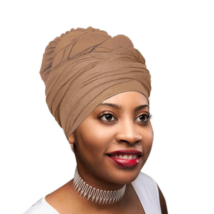 🎁 ONE DAY SALE Novarena Desert Brown Solid Color Head Wrap Stretch Long Hair Scarf Turban Tie Kente African Hat Jersey Knit Headwrap - Laura Baby and Company