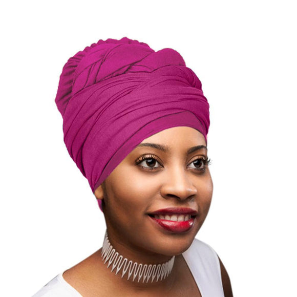 Novarena Fuchsia Solid Color Head Wrap Stretch Long Hair Scarf Turban Tie Kente African Hat Jersey Knit Headwrap - Laura Baby and Company