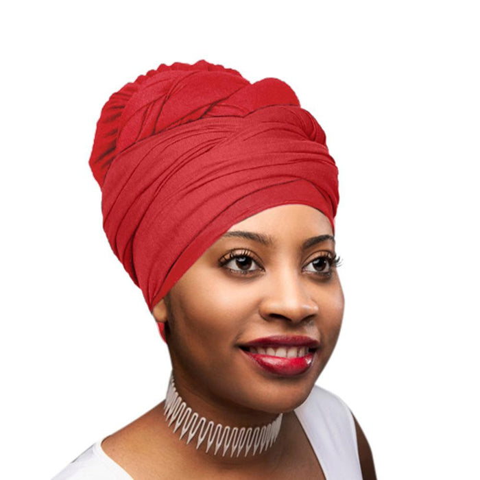 Novarena Crimson Red Solid Color Head Wrap Stretch Long Hair Scarf Turban Tie Kente African Hat Jersey Knit Headwrap - Laura Baby and Company
