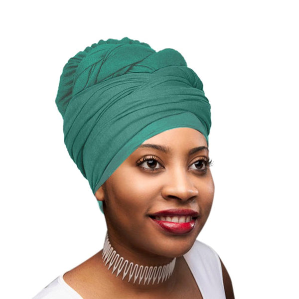 Novarena Green Solid Color Head Wrap Stretch Long Hair Scarf Turban Tie Kente African Hat Jersey Knit Headwrap - Laura Baby and Company