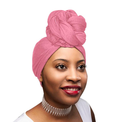 ONE DAY SALE Baby Pink Solid Color Head Wrap Stretch Long Hair Scarf Turban Tie Kente African Hat Jersey Knit Headwrap - Laura Baby and Company