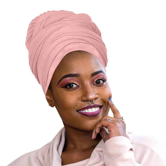 Novarena Baby Pink Solid Color Head Wrap Stretch Long Hair Scarf Turban Tie Kente African Hat Jersey Knit Headwrap - Laura Baby and Company