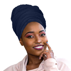 Novarena Dark Navy Blue Solid Color Head Wrap Stretch Long Hair Scarf Turban Tie Kente African Hat Jersey Knit Headwrap