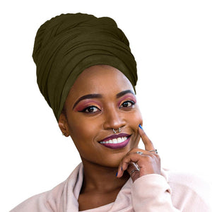 🎁 ONE DAY SALE Novarena Olive Green Solid Color Head Wrap Stretch Long Hair Scarf Turban Tie Kente African Hat Jersey Knit Headwrap - Laura Baby and Company