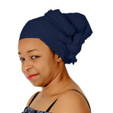 Novarena Dark Navy Blue Solid Color Head Wrap Stretch Long Hair Scarf Turban Tie Kente African Hat Jersey Knit Headwrap - Laura Baby and Company