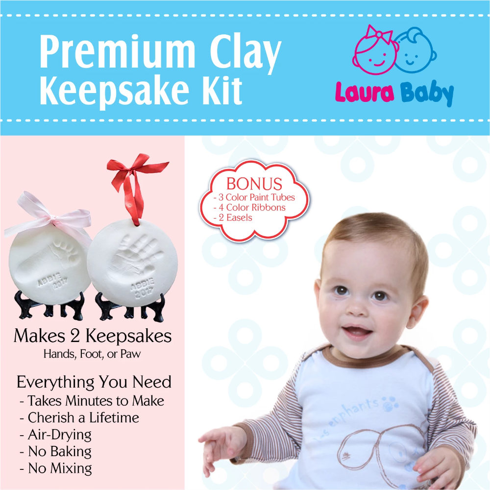 SALE Laura Baby Premium Ornament Keepsake Kit, Baby Handprint kit And Footprint Kit -2 Ornaments In Non-Toxic Clay, And Comes With 2 Easels, 4 Ribbons Plus Bonus Personalization kit. Best Baby Shower Gift - Laura Baby and Company