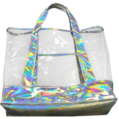 The new summer iridescent leather hand bag, Silver Grey iridescent Leather with clear transparent handbag, beach tote bag, sand shoulder shopping bags - Laura Baby and Company