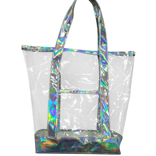 The new summer iridescent leather bag, hand bag, Silver Grey and iridescent Leather with clear transparent handbag, beach tote bag, sand shoulder shopping bags - Laura Baby and Company