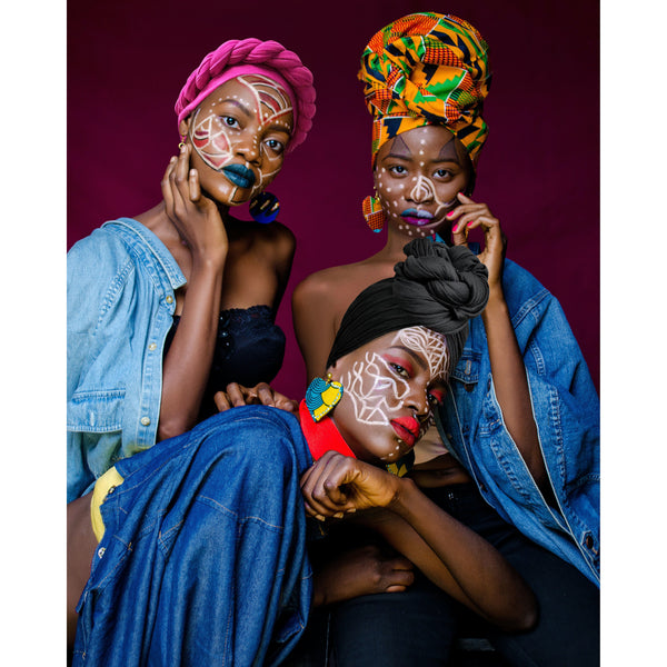 3 Pack Black, Fuchsia & Kente Cloth