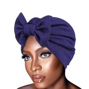 Solid Knitted hat Women Bow Hat Beanie Scarf Turban Head Wrap Cap For bandana bowknot Wrap hat Cap headwrap tie