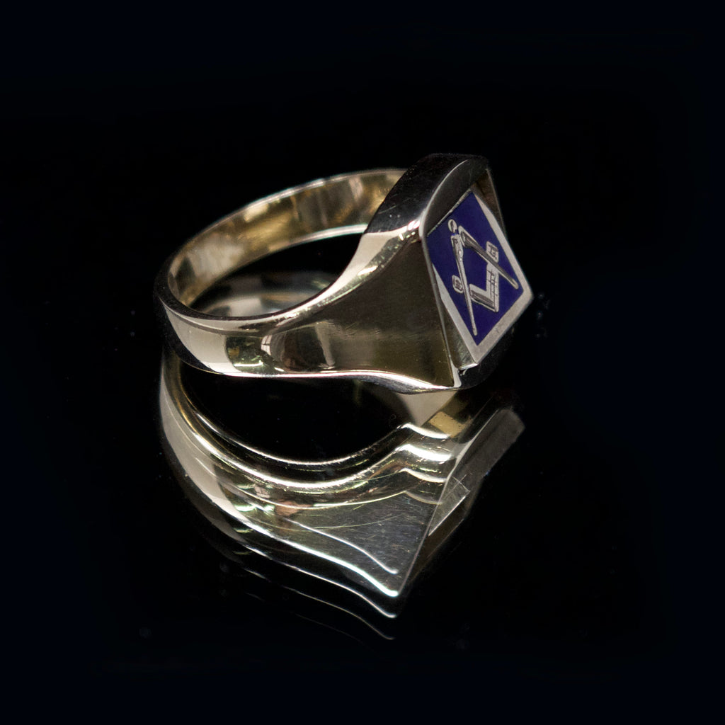 freemason swivel signet ring, nouveau jewellers, mason signet ring, blue mason gold signet ring, jewellers in manchester