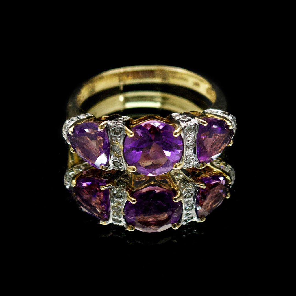 Amethyst and diamond dress ring, nouveau jewellers, jewellers in manchester, refurbished rings manchester