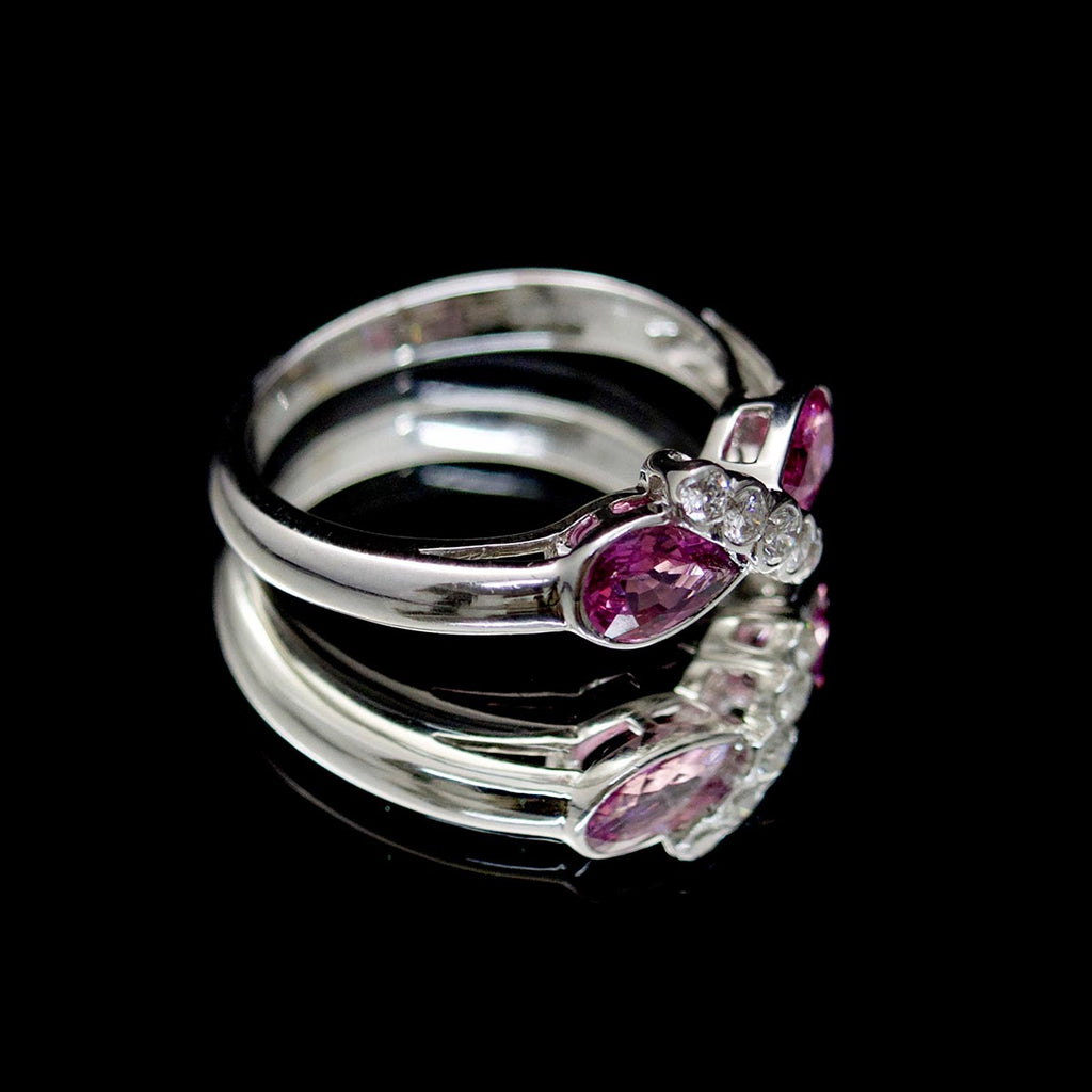 18ct White Gold Pink Sapphire & Diamond Ring - Nouveau Jewellers