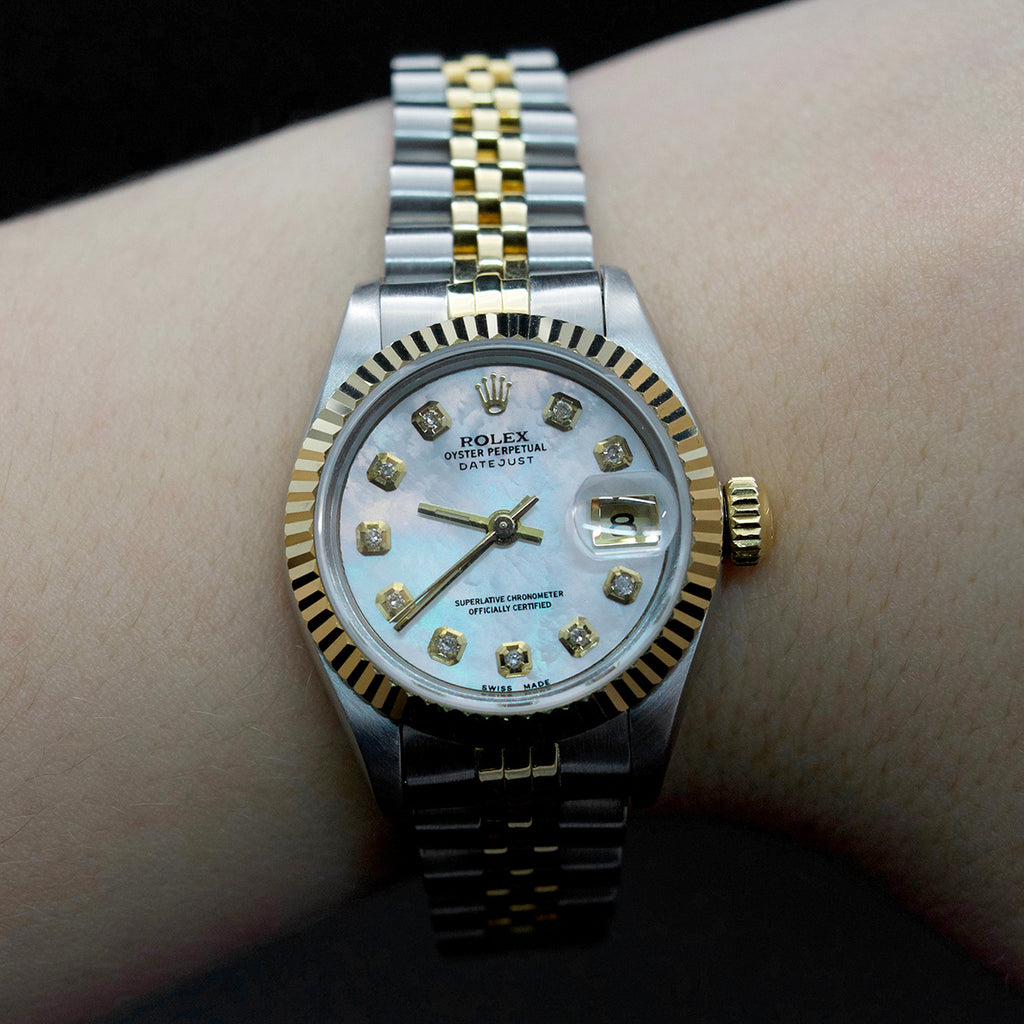 Vintage ladies rolex, rolex watch with oyster shell affect on face of watch, Rolex