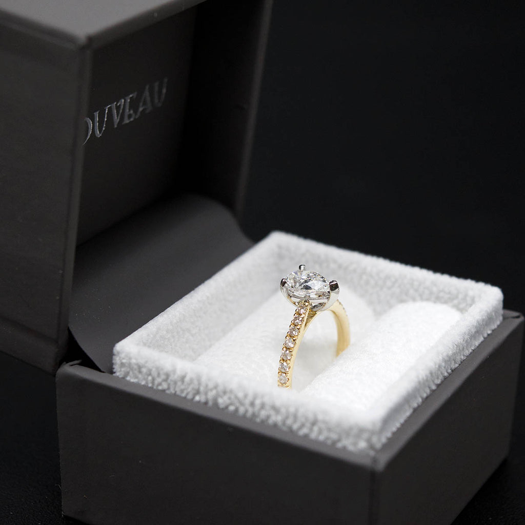 18ct Gold Pear Shaped Halo Diamond Engagement Ring side profile in box, sold at Nouveau Jewellers in Manchester