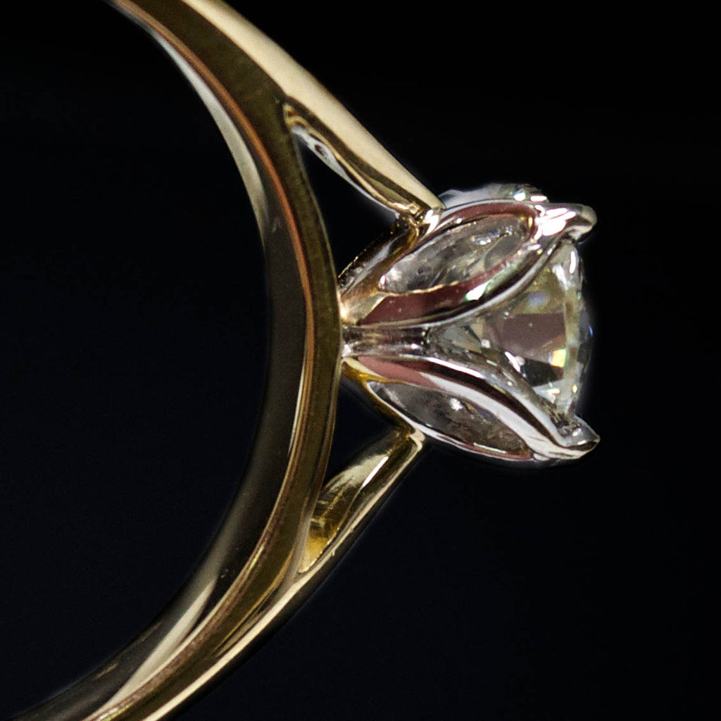 18ct Gold Petal Solitaire Diamond Engagement Ring close up, sold at Nouveau Jewellers in Manchester