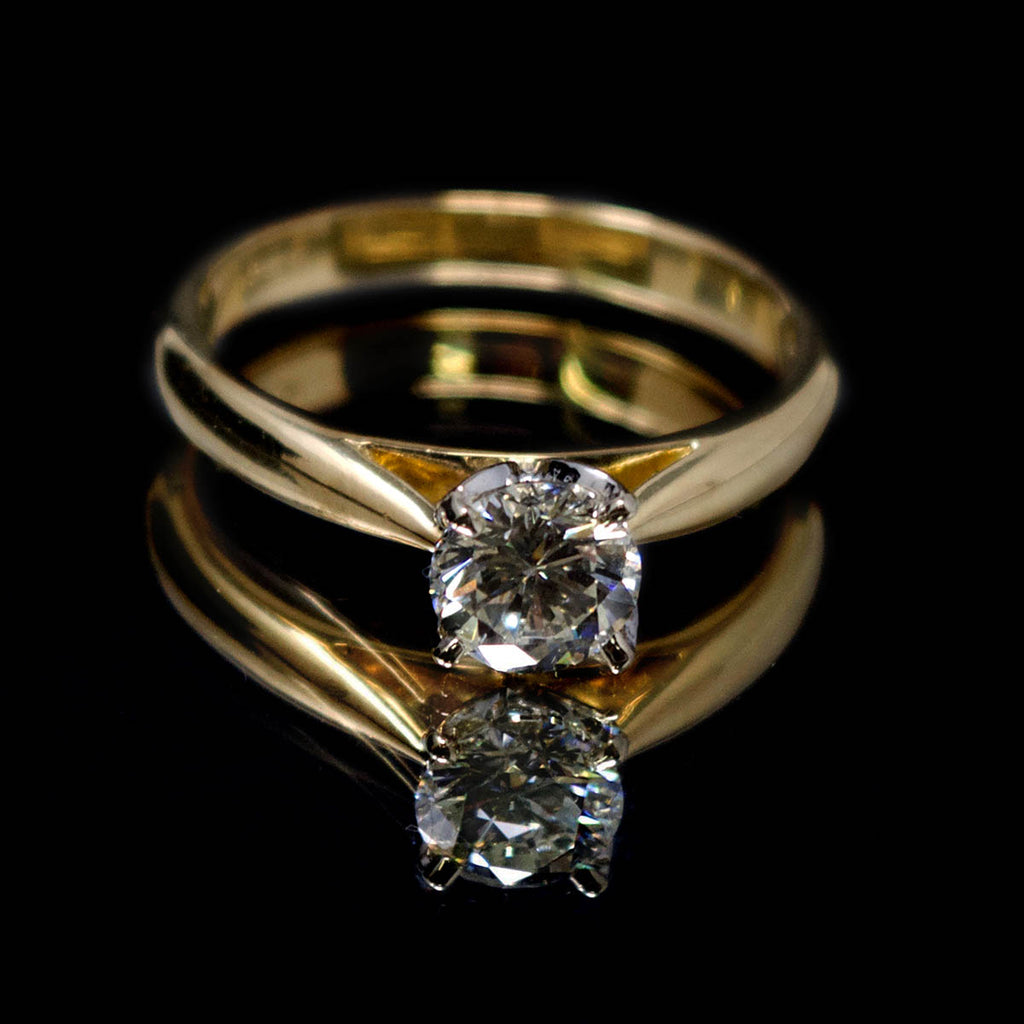 18ct Gold Petal Solitaire Diamond Engagement Ring, sold at Nouveau Jewellers in Manchester