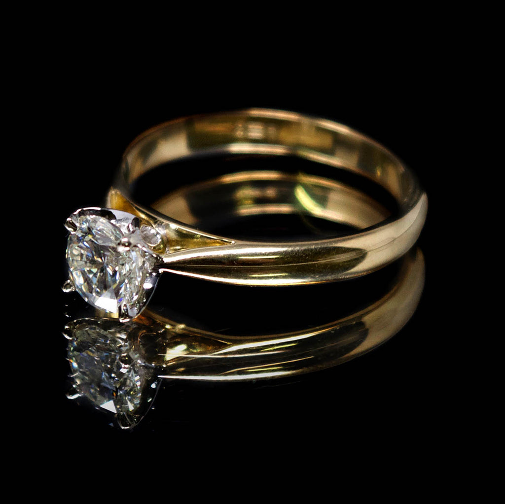 18ct Gold Petal Solitaire Diamond Engagement Ring side profile, sold at Nouveau Jewellers in Manchester