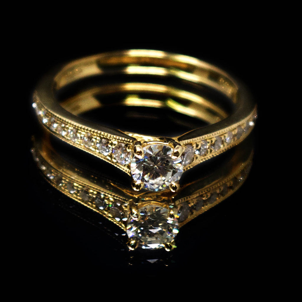 18ct Yellow Gold Vintage Solitaire Diamond Cluster Engagement Ring, sold at Nouveau Jewellers in Manchester