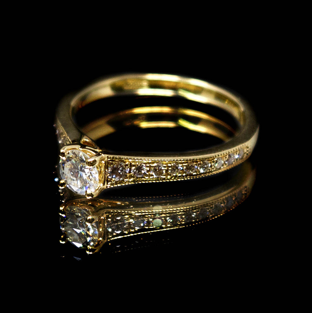 18ct Yellow Gold Vintage Solitaire Diamond Cluster Engagement Ring side profile, sold at Nouveau Jewellers in Manchester