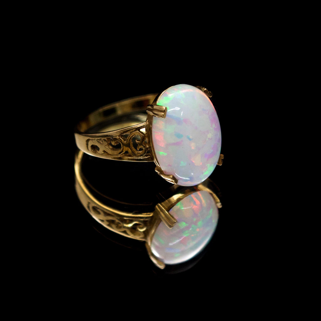 Opal Rings, Nouveau Jewellers, 9ct yellow gold ring, dress rings, manchester jewellers, vintage ring