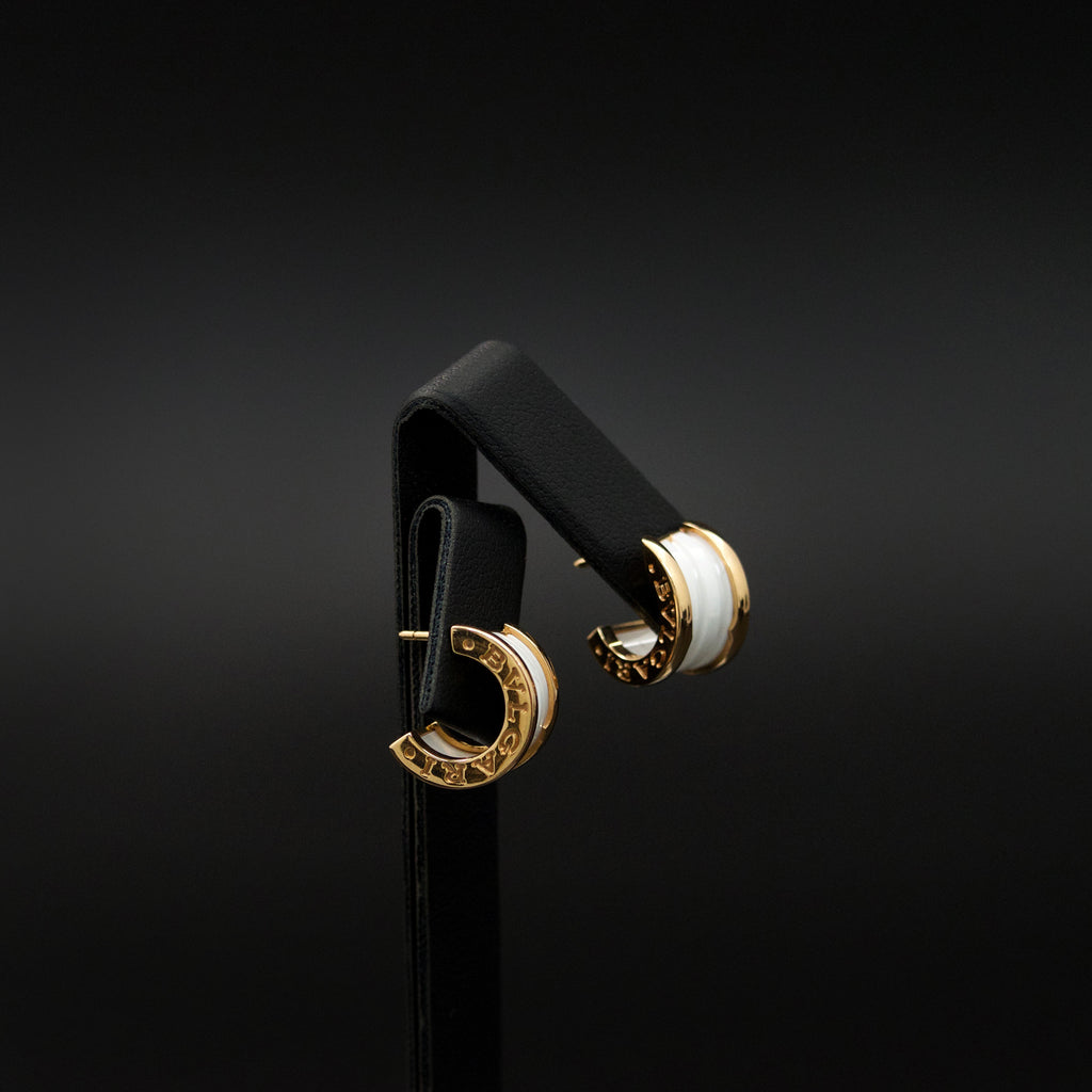 18ct Yellow Gold Bulgari Designer Earrings side profile, sold at Nouveau Jewellers in Manchester
