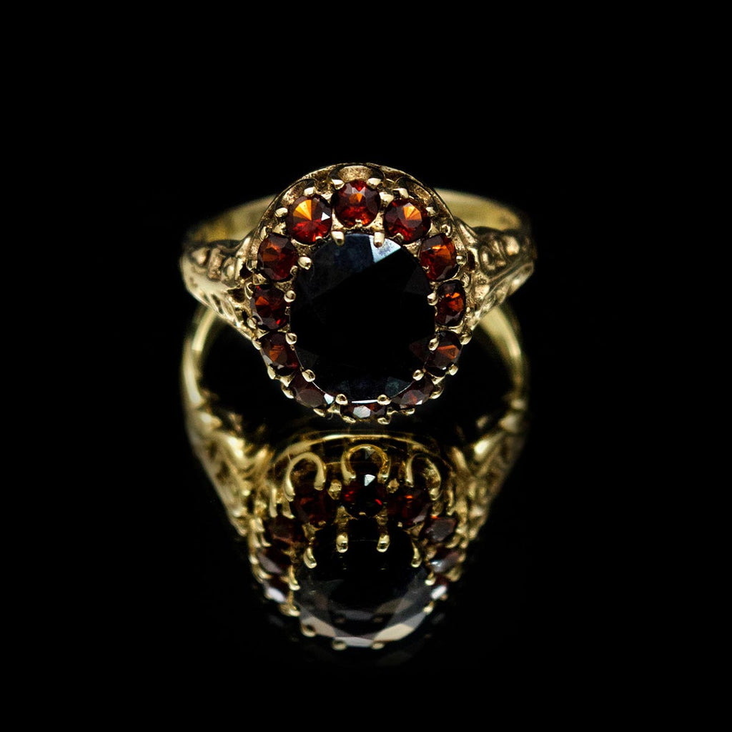Garnet dress ring, Nouveau Jewellers, gold & garnet ring, jewellers in manchester