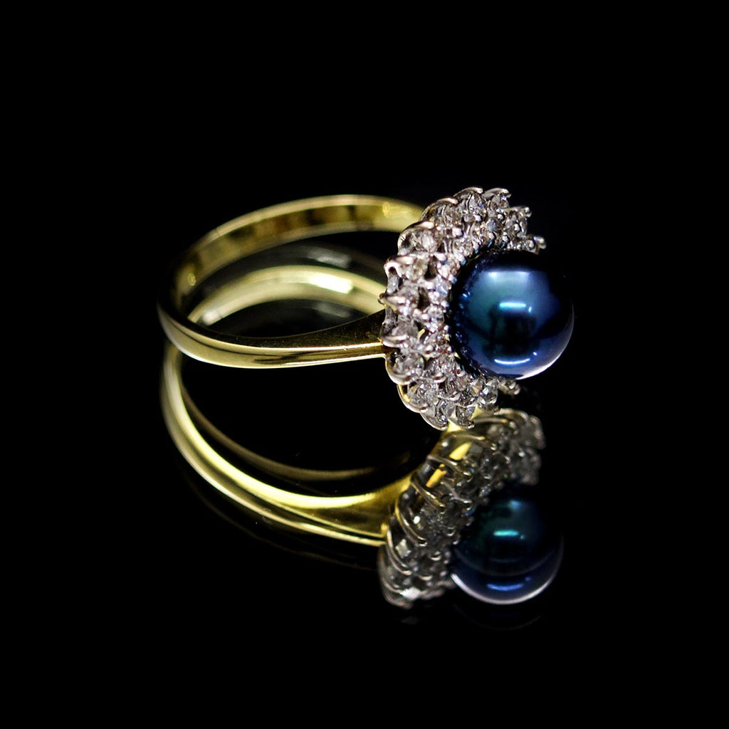 18ct Gold, Black Pearl & Diamond Ring - Nouveau Jewellers