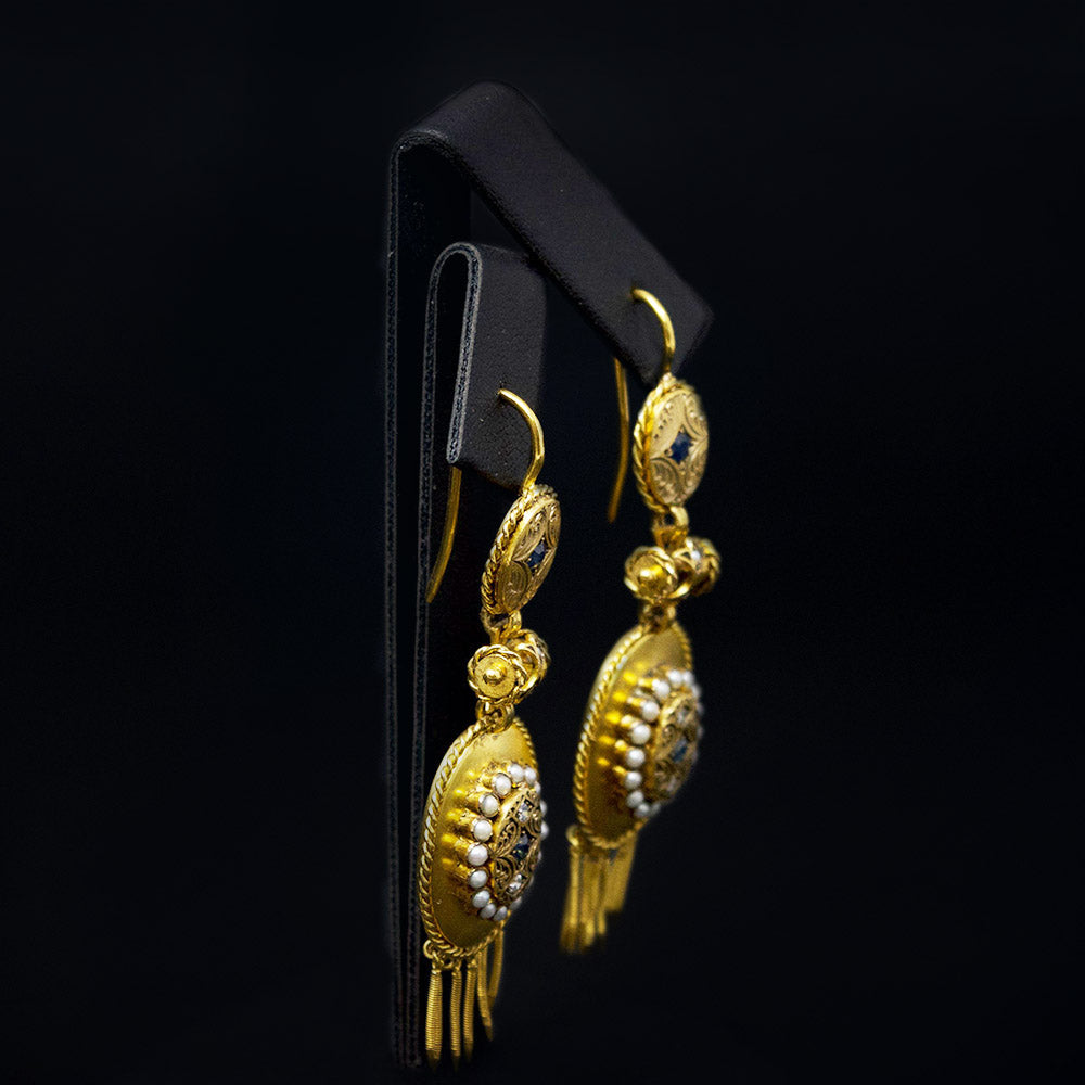 Gold Vintage Pendant Earrings side profile, sold at Nouveau Jewellers in Manchester