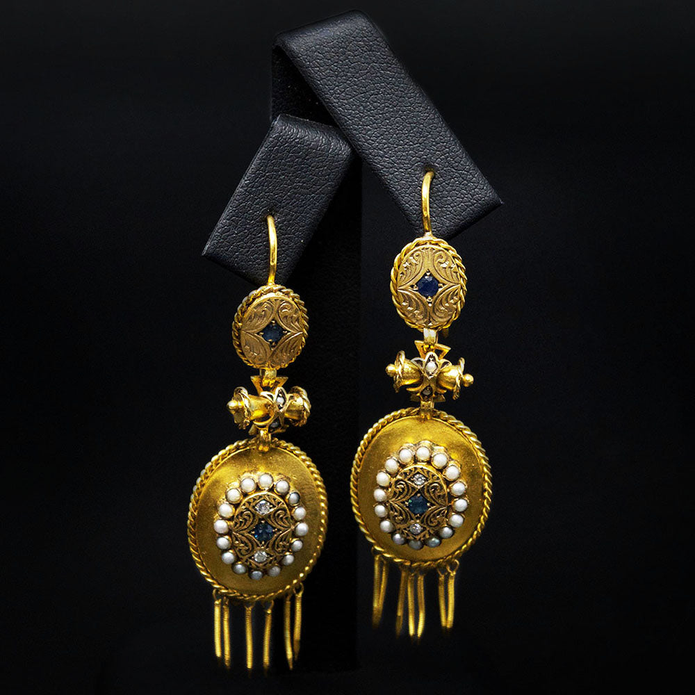 Gold Vintage Pendant Earrings close up, sold at Nouveau Jewellers in Manchester